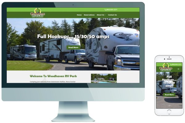 Responsive Website & Logo development - Woodhaven RV Park Campground